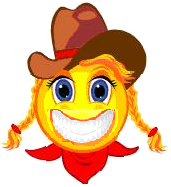 Grinning cowgirl face