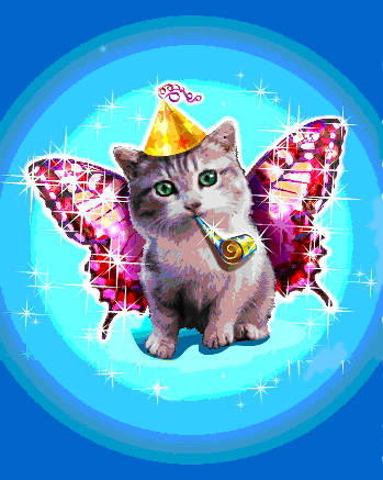 New Years Angel Cat
