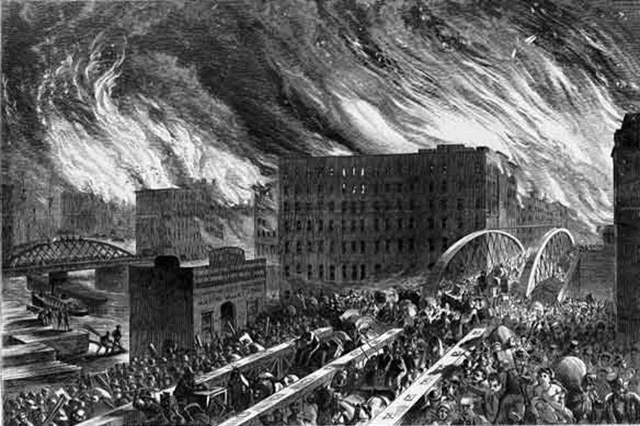 Chicago in Flames -- The Rush for Lives Over Randolph Street Bridge